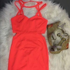 Tea & Cup Los Angeles Neon Coral Dress.